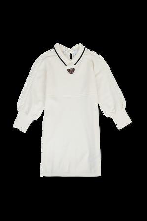 גילאי 4-14 שמלת צמר עם דובי רקום בגוון לבן BURBERRY