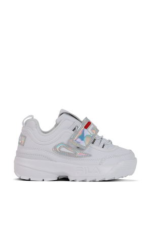 מידות 22-28 נעלי דיסרפטר בלבן עם הולוגרמת לוגו FILA