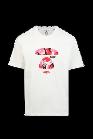 חולצה קצרה עם הדפס ממותג ורוד בגוון לבן AAPE