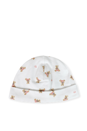 כובע כותנה לבן עם הדפס דובים איקווני POLO RALPH LAUREN KIDS