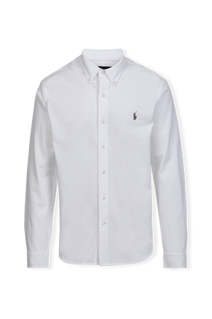 Classic Fit Knit Oxford Shirt in White POLO RALPH LAUREN