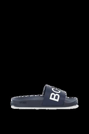 Hugo Bay Slide Sandals in Black BOSS