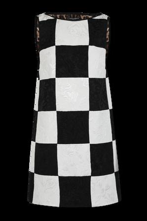 Sleeveless Damier Patchwork Jacquard Dress in Black and White DOLCE & GABBANA