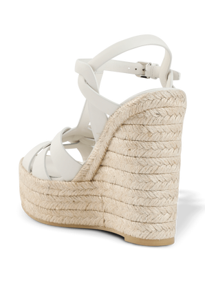 Tribute Espadrille Wedge in White Leather SAINT LAURENT