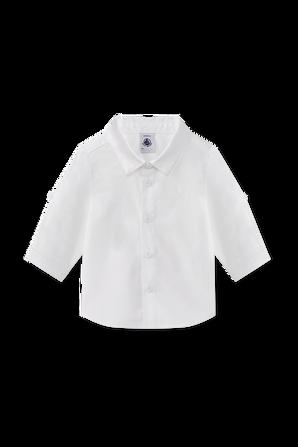 גילאי NB-12 חודשים חולצה מכופתרת קלאסית בלבן PETIT BATEAU