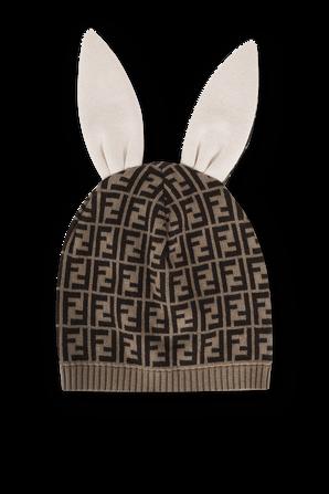 כובע גרב עם אוזניים הדפס לוגומאני בגווני חום FENDI KIDS
