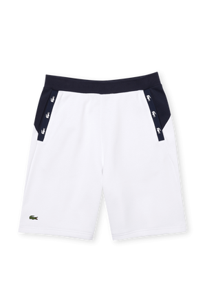 Contrast Accents Fleece Shorts In White And Navy Blue LACOSTE