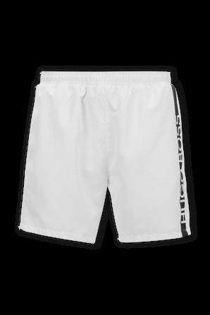 Dolphin Medium Length Swim Logo Shorts in White BOSS