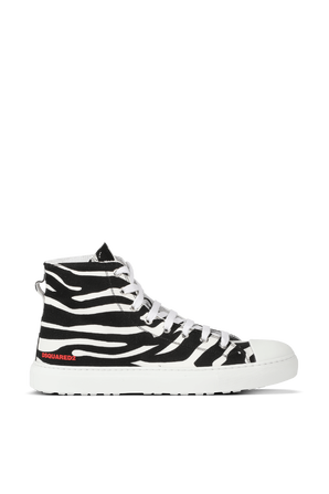 Zebra High Sneakers in Black and White DSQUARED2