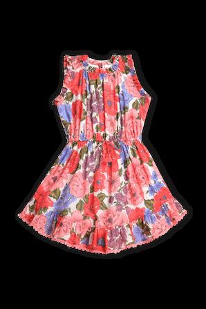 גילאי 1-10 שמלת פופי בהדפס פרחוני ארגמן ZIMMERMANN KIDS