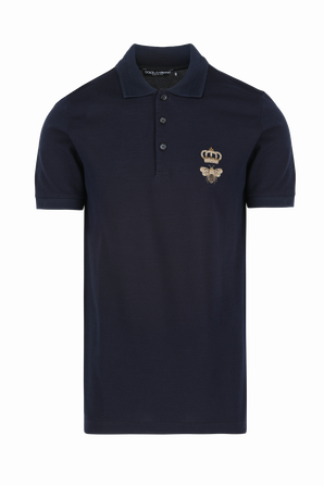 Polo T-Shirt In Dark Blue With French Wire Crown Embroidery DOLCE & GABBANA
