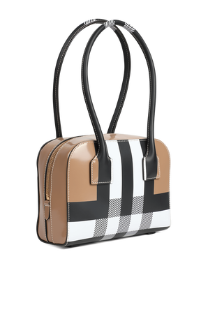 Mini Leather Half Cube Bag in Camel BURBERRY