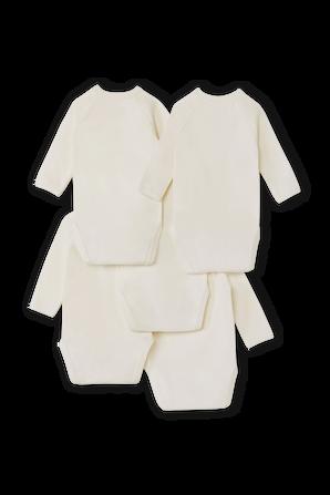 גילאי NB- 6 חודשים מארז חמישה בגדי גוף בלבן PETIT BATEAU