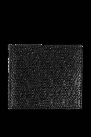 ארנק מונוגרמי מעור בצבע שחור SAINT LAURENT