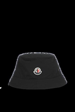 כובע באקט כותנה עם תגית ממותגת בגוון שחור MONCLER