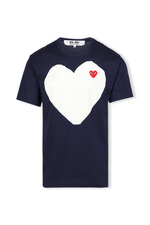 White Heart T-Shirt in Navy COMME des GARCONS