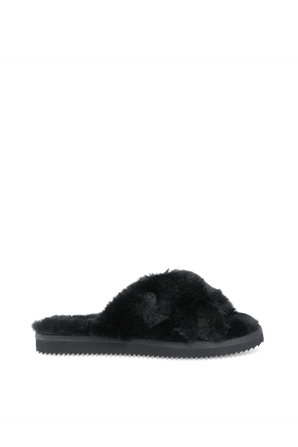 Lala Faux Fur Slide Sandal in Black MICHAEL KORS
