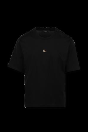 Gold Monogram Logo Tshirt in Black DOLCE & GABBANA