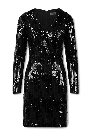 Long Sleeve Sequin Dress In Black HUGO