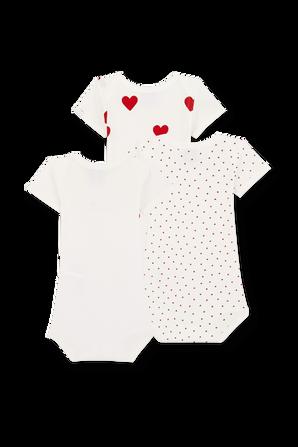 גילאי NB-12 חודשים שלישיית בגדי גוף בפרינט לבבות PETIT BATEAU