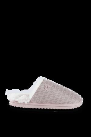 Janis Faux Fur Lined Logo Jacquard Slipper in Soft Pink MICHAEL KORS