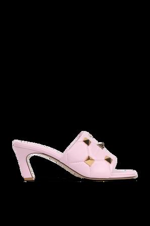 Golden Studs Slide Sandals in Pink VALENTINO GARAVANI