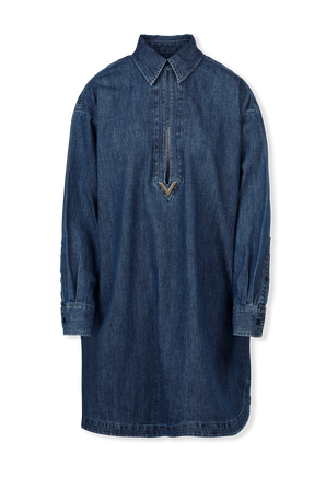 Midi Dress in Denim Chambray With V Gold Details VALENTINO