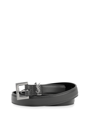 Monogram Belt in Black Leather and Silver SAINT LAURENT