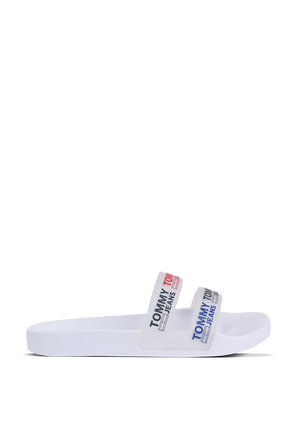 Double Strap Slides in White TOMMY HILFIGER