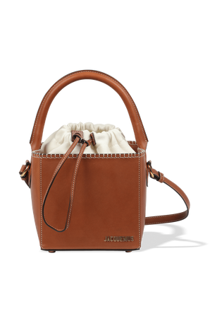 Le Seau Carre Bag in Brown Leather JACQUEMUS
