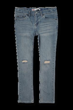 גילאי 8-16 מכנסי ג'ינס ארוכים בכחול עם שפשופים וקרעים LEVI`S KIDS