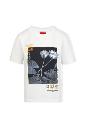 Relaxed-Fit T-shirt With Collection-Themed Artwork in White HUGO