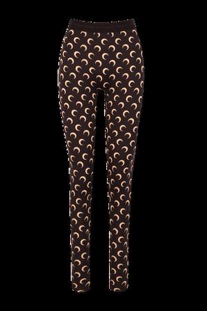 All Over Moon Print High Waist Leggings in Brown and Beige MARINE SERRE