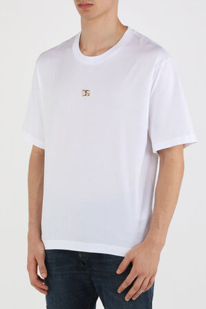 Gold Monogram Logo Tshirt in White DOLCE & GABBANA