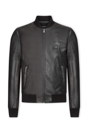 Black Leather Jacket with Branded Plate DOLCE & GABBANA