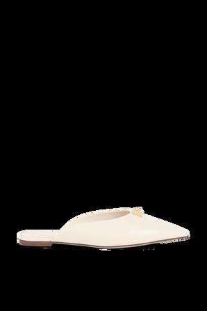 """Roman Stud Flat Mule in White Leather VALENTINO"