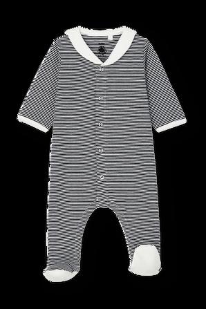 גילאי NB-12 חודשים בגד גוף ארוך עם רגליות בפסים PETIT BATEAU