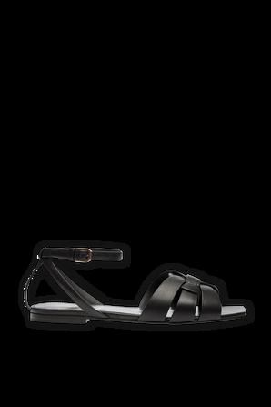 Leather Sandals in Black SAINT LAURENT