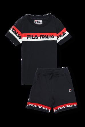 גילאי 2-8 חליפה הכוללת חולצה ומכנסיים קצרים בכחול עם לוגו FILA