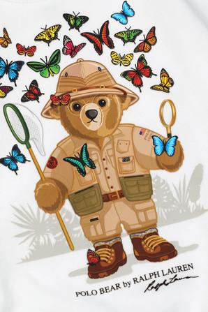 גילאי 8-16 סווטשירט דוב לוכד פרפרים בצבע לבן POLO RALPH LAUREN KIDS