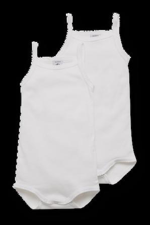 גילאי 1-18 חודשים מארז שני בגדי גוף גופיות מלמלה בלבן PETIT BATEAU