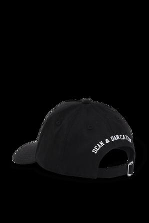כובע מצחייה שחור עם דפוס לוגו בלבן DSQUARED KIDS