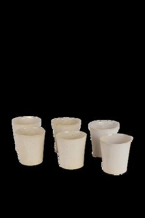 Borgia Set - 6 Wide Coffee Mugs in Cream MICHAL GELBARD