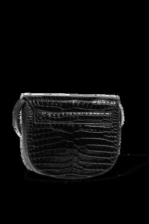 תיק קאיה מעור בגימור קרקו בצבע שחור SAINT LAURENT