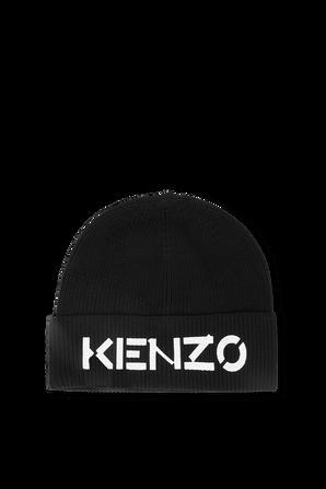 Logo Knit Beanie in Black KENZO