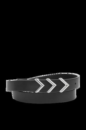3 Silver Triangle Leather Belt in Black BOTTEGA VENETA