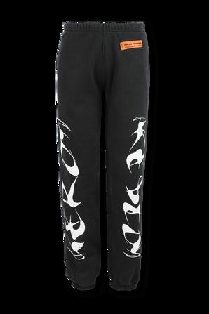 Side Print Sweatpants in Black HERON PRESTON