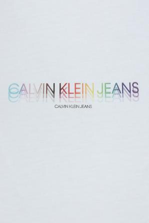 Pride - Slim Fit Cropped T-Shirt in White CALVIN KLEIN