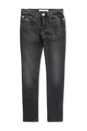 גילאי 4-16 מכנסי סקיני ג'ינס בשטיפה שחורה CALVIN KLEIN