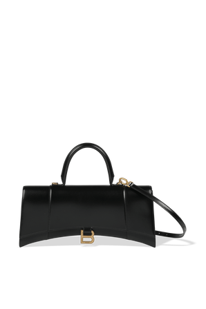 Hourglass Stretched Top Handle Bag in Black BALENCIAGA